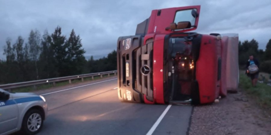 На дороге в Великолукском районе грузовик попал в ДТП